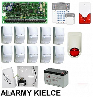 Zestaw alarmowy Spectra SP65 z 10 x czujek, obudowa  KPL.